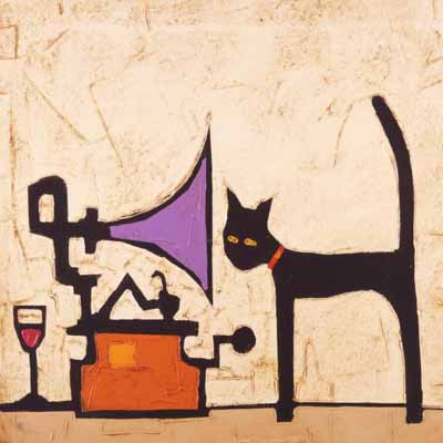 cat, gramophone, wine